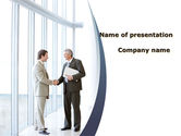 People: Business Meeting In A Lobby PowerPoint Template #08985