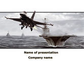 Military: General Dynamics F-16 Fighting Falcon Starting With The Carrier PowerPoint Template #09897