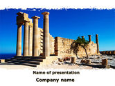 Art & Entertainment: Ruins Of Ancient Greek Temple PowerPoint Template #09908