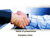 Evolution+of+business: Handshake In Blue Colors PowerPoint Template #09926