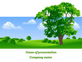 Green: Lonely Tree On The Summer Meadow PowerPoint Template #09953