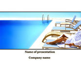 Fun: Resting After Swim Near Pool PowerPoint Template #10088
