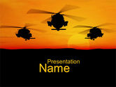 Military: Helicopters at Sunset PowerPoint Template #10662