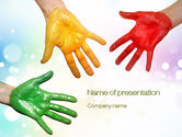 Fun: Painted Hands PowerPoint Template #10680