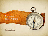 Business: Compass on Parchment PowerPoint Template #11732