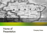 Flags/International: Map of Brazil PowerPoint Template #12168