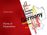 Flags/International: Germany Map and Cities Word Cloud PowerPoint Template #12177