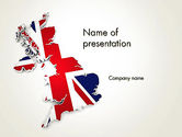 Flags/International: Great Britain Flag Map PowerPoint Template #12280