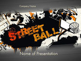 Sports: Street Basketball Graffiti PowerPoint Template #12725