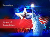 Holiday/Special Occasion: Statue Of Liberty With Fireworks PowerPoint Template #13291