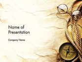 Education & Training: Compass Rope and Glasses on Old Paper PowerPoint Template #13335