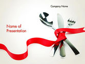 Food & Beverage: Fork Knife and Spoon Tied Up With Red Ribbon PowerPoint Template #13484