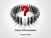 Business Concepts: People Standing In Circle with Question Mark in Middle PowerPoint Template #14184