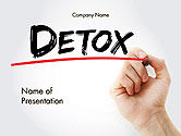 Medical: Hand Writing Detox with Marker PowerPoint template #14189