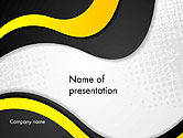 Abstract/Textures: Yellow and Black Waves on Gray Background PowerPoint Template #14192