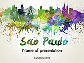 Art & Entertainment: Sao Paulo Skyline in Watercolor Splatters PowerPoint Template #14198