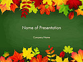 Nature & Environment: Falling Leaves Border Frame PowerPoint Template #14208