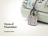 Financial/Accounting: Dollar Banknotes Secured with Lock PowerPoint Template #14215