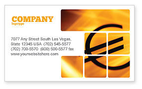 Financial/Accounting: Yellow Colored Euro Currency Business Card Template #00081