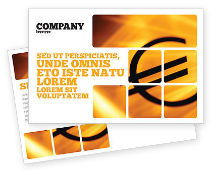 Yellow Colored Euro Currency Postcard Template, 00081, Financial/Accounting — PoweredTemplate.com