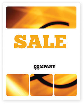 Yellow Colored Euro Currency Sale Poster Template, 00081, Financial/Accounting — PoweredTemplate.com