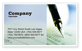 Financial/Accounting: Signing of Check Business Card Template #00634