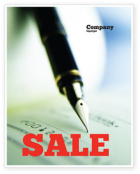 Financial/Accounting: Signing of Check Sale Poster Template #00634