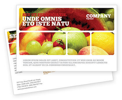 Fresh Fruits Of Summer Postcard Template