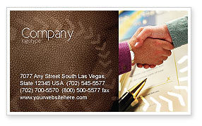 Business: Signing Agreement Business Card Template #00925