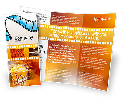 movie brochure template - film strip in purple color brochure template design and