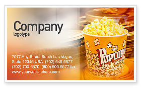 Art & Entertainment: Popcorn Business Card Template #00962