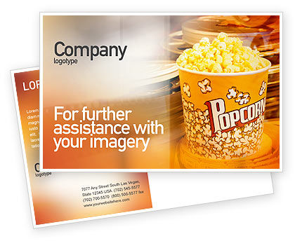 Art & Entertainment: Popcorn Postcard Template #00962