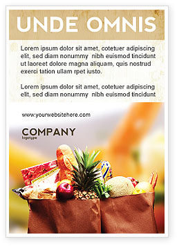 Grocery Bag Ad Template, 00972, Food & Beverage — PoweredTemplate.com