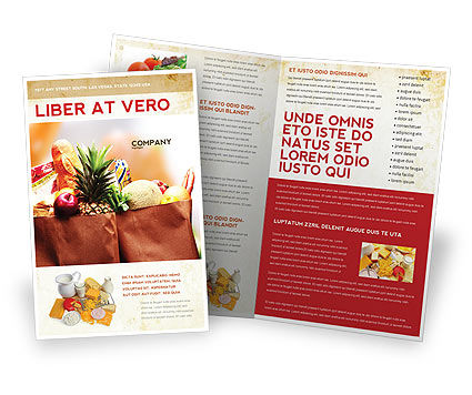 Grocery Bag Brochure Template, 00972, Food & Beverage — PoweredTemplate.com