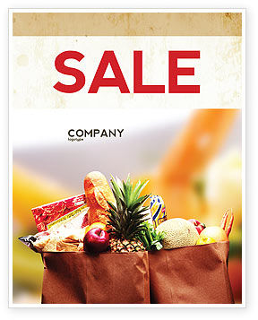 Grocery Bag Sale Poster Template, 00972, Food & Beverage — PoweredTemplate.com