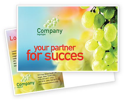 White Grape Postcard Template, 01281, Food & Beverage — PoweredTemplate.com