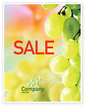 White Grape Sale Poster Template, 01281, Food & Beverage — PoweredTemplate.com