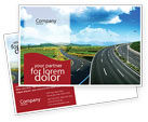 Construction: Highway Under Blue Sky Postcard Template #01358