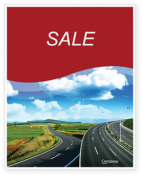 Construction: Highway Under Blue Sky Sale Poster Template #01358