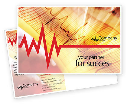 Cardiogram Postcard Template, 01359, Medical — PoweredTemplate.com