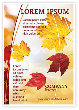 Nature & Environment: Falling Leaves In The Sunset Ad Template #01454