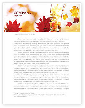 Nature & Environment: Falling Leaves In The Sunset Letterhead Template #01454