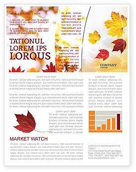 Falling Leaves In The Sunset Newsletter Template, 01454, Nature & Environment — PoweredTemplate.com
