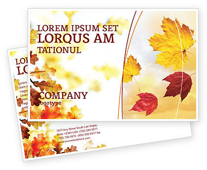 Falling Leaves In The Sunset Postcard Template, 01454, Nature & Environment — PoweredTemplate.com
