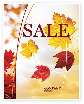 Nature & Environment: Falling Leaves In The Sunset Sale Poster Template #01454
