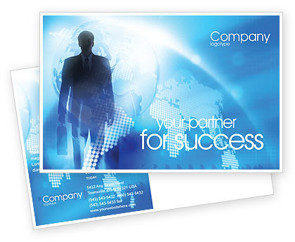 Businessman Postcard Template, 01534, Global — PoweredTemplate.com