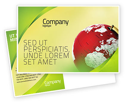 Global: Terrestrial Globe Postcard Template #01541