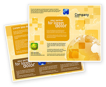 Globe On The Pastel Background Brochure Template, 01561, Global — PoweredTemplate.com
