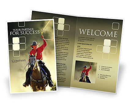 Cowboy Brochure Template, 01588, America — PoweredTemplate.com