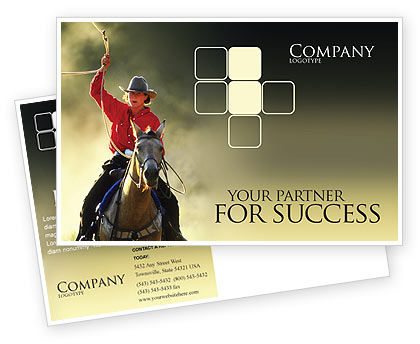 America: Cowboy Postcard Template #01588